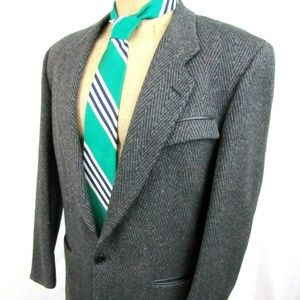 80s GIVENCHY 40R Charcoal Gray Flecked Wool Blazer